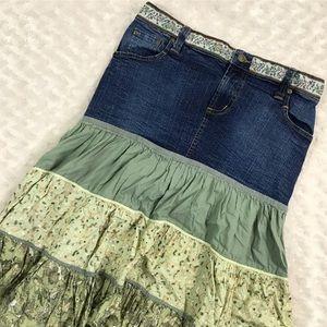 Motherhood Maternity Denim Tiered Skirt Floral